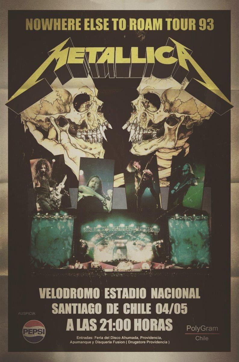 Metallica Chile 1993 Afiche Ok
