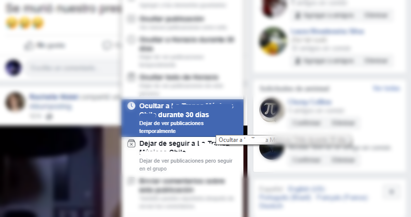 ocultar publicaciones en facebook