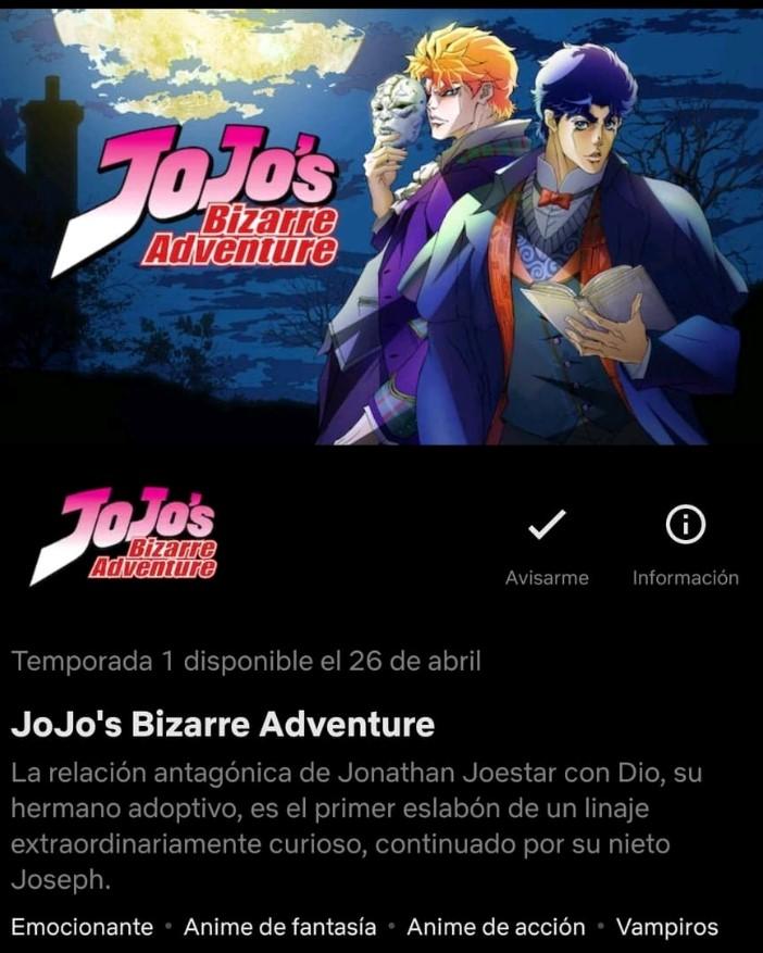 Netflix anuncia nueva fecha de estreno para Jojo's Bizarre Adventure