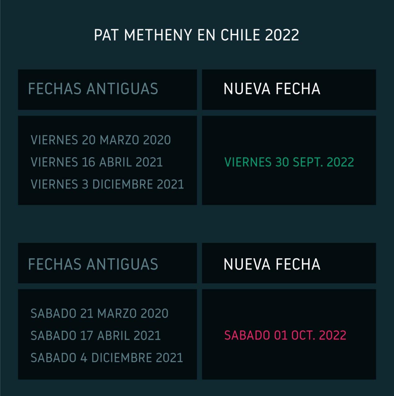 Pat Metheny Chile 2022 Nuevas Fechas